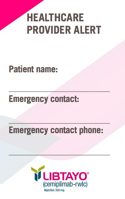 LIBTAYO® (cemiplimab-rwlc) Patient wallet card